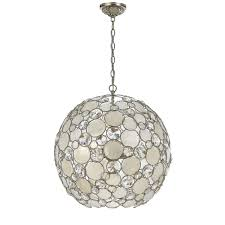 palla antique silver six light pendant with natural white capiz s and hand cut crystal