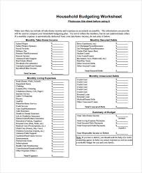 sample household budget 8 household budget form free sample example format download