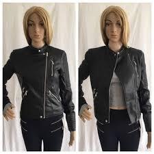 zara black faux leather biker jacket with zips size uk s ref 3427 004