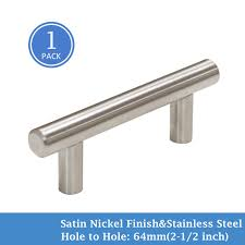 Knobonly Brushed Nickel Cabinet Pulls T Bar Style 2 1264mm Hole