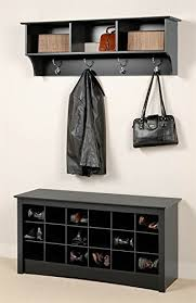 Entryway Wall Mount Coat Rack w Shoe <b>Storage Bench</b> in <b>Black</b> ...