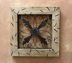 Metal Wall Art Wood Cream Distressed Framed Metal Fleur De Lis Regarding  Fleur De Lis Metal
