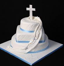 Big Baptism Cakes With Cross Topper And Three Tiers Baptism In White