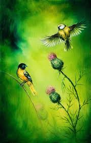 artist painting beautiful oil painting on canvas of a pair of birds flattering above a