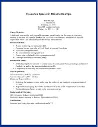 Sample Insurance Specialist Skills For Resume Recentresumes Com