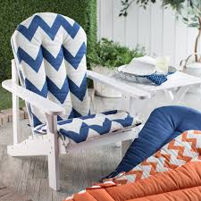 white wooden adirondack chair with blue white chevron adirondack chair cushions seat and back for patio