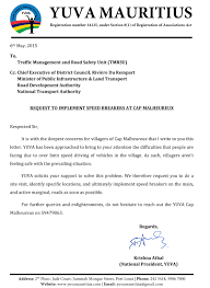 letter request to implement speed breakers at cap malheureux preview of sent letter