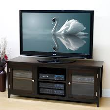 jeco 60 in tv stand with glass doors mocha hayneedle household tv for 14