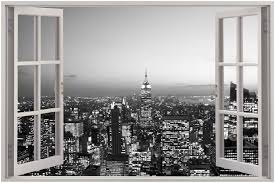 huge 3d window new york city view wall stickers mural