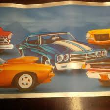 hot rod cars on blue with silver trim