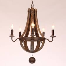 rustic wine barrel stave reclaimed wood rust metal chandelier with candle light