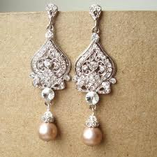 champagne wedding earrings pearl wedding jewelry silver chandelier bridal earrings vintage inspired bridal jewelry jacqueline