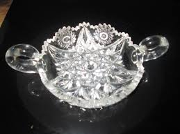 beautiful cut glass nappy or double handle dish stunning piece of cut glass