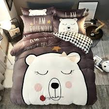 cat flannel sheets lovely cartoon corgi cat polar bear rabbit flannel child bedding set thick fleece