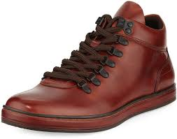 kenneth cole best brand leather sneaker boot with silver technology