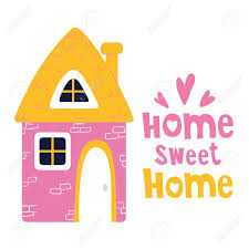 New Home Cartoon Images Cute Cartoon House Sweet Home Bright Colors Lettering Flat