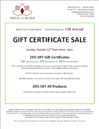 11th annual gift certificate