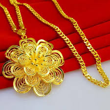 whole don t rub off the gold necklace long sweater chain pendant flowers of male and female 24k gold wedding jewelry chain personalized pendant necklace