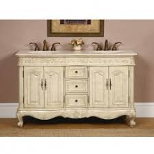 cottage style double bathroom vanity. 58 inch double sink bathroom vanity in antique white finish cottage style