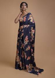Floral Print Blouse Designs For Sarees Navy Blue Saree In Satin Blend With Floral Print All Over Online Kalki Fashion