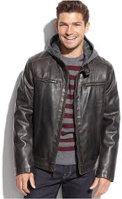 brown leather er jackets tommy hilfiger hooded faux leather faux fur lined moto jacket