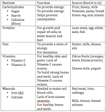 Protein Vitamins Minerals Fats And Carbohydrates Chart Examlearn