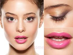 70s style makeup with pink lips