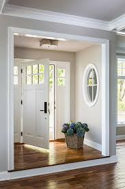 white interior front door. Step Up Leading To Foyer Nook, Gray Walls With Interior Window And White Molding | · Side DoorFront Front Door Pinterest