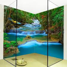 35 fancy mountain stream natural scenery design waterproof 3d bathroom wall murals