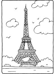 Kleurplaat Eiffeltoren Parijs Frankrijk Kleurplatennl