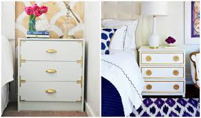 interesting white ikea nightstand with three drawers and