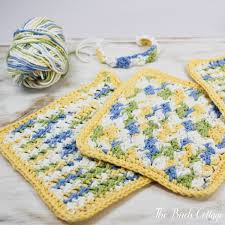 Easy Crochet Dishcloth Patterns Delectable Learn How To Crochet Crunchy Stitch Dishcloth The Birch Cottage