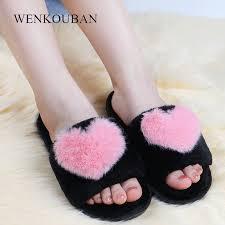 <b>Indoor</b> Slippers Women <b>Warm Fur Slides</b> Plush Love Heart Winter ...