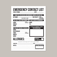 emergency contact template emergency contact form for nanny babysitter or daycare