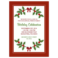 Christmas Invitation Card Christmas Party Invitations Holly Border Design Printed With Envelopes Included