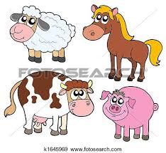 domestic animals clipart. Modren Domestic Clip Art Of Group Farm Animals K3234749  Search Clipart  In Domestic Animals P