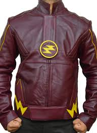 the flash costume grant gustin barry allen maroon flash leather jacket