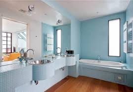 Small Blue Bathrooms White Washbowl In Floating Wooden Cabinet Door Small Rectangle