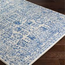 Decor Pattern Blue Area Rugs With Dark Hardwood Flooring For