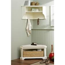 Our Tetbury White Corner Storage Shelf and Bench for the hall. Only 250 for
