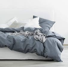 eikei washed cotton chambray duvet cover solid color casual modern style