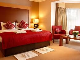 Orange Bedroom Color Schemes Natural Finished Wooden Base Bed Bedroom Color Scheme Orange Rug