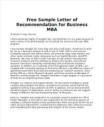 6+ Sample Mba Recommendation Letters – Pdf, Word | Sample Templates