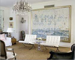 blue-white-living-room-decorating-ideas-home- decor -large-painting-art-abstract-barcelona-chairs-crystal-chandelier-eclectic- antique-modern-contemporary- ...