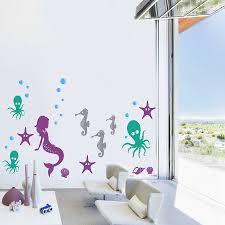 graceful mermaid bedroom decor underwater sea creature wall sticker pack by snuggledust