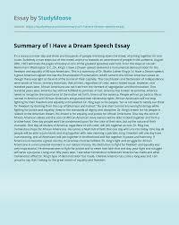 Summary of I Have a Dream Speech Free ...