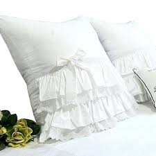 white ruffle throw pillow vintage shams from full bloom cottage