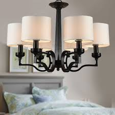 6 light black wrought iron chandelier with cloth shades dk 2017 6