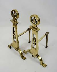 pair of solid brass decorative victorian fire dogs or andirons