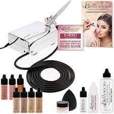 belloccio professional beauty airbrush cosmetic makeup system with 4 um shades of foundation in 1